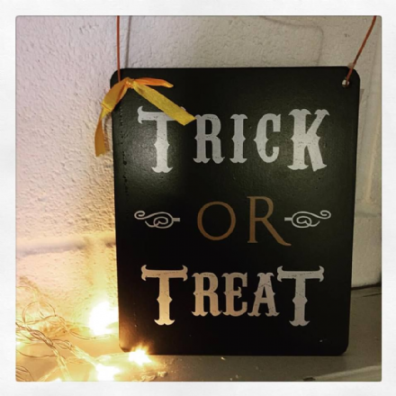 50% Off Hanging Wooden Trick Or Treat Halloween Sign